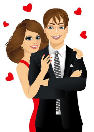 cuddling: portrait of attractive happy smiling couple cuddling
