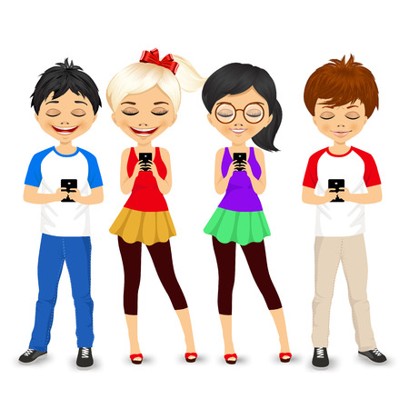 using smart phone: four different young people using mobile phones socializing on internet Illustration