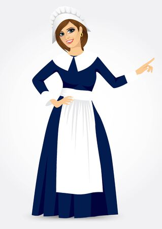 period costume: vector illustration for thanksgiving of a pilgrim woman Illustration