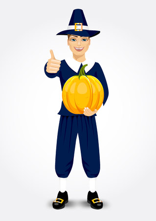 vector illustration for thanksgiving of pilgrim man holding a pumpkin and giving thumbs up isolated on white background Illustration
