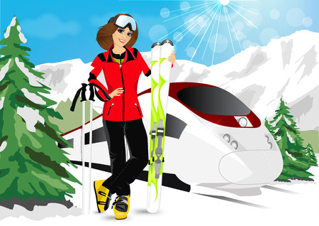 the high speed train: portrait of happy smiling woman enjoy her winter vacation in mountain resort  wearing ski suit, standing with mountain skis against high speed train