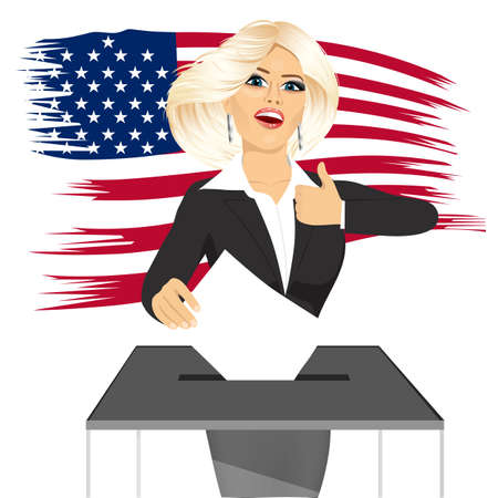 vote box: portrait of blonde businesswoman putting ballot in vote box and giving thumbs up on white background