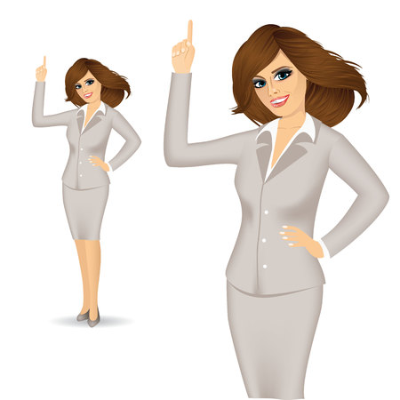 gesturing: portrait of attractive young businesswoman pointing up