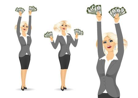 Junge glücklich Geschäftsfrau in grauen Anzug halten Geld mit beiden Händen isoliert über weißem Hintergrund