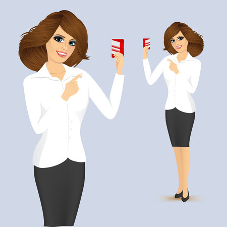 woman credit card: young bank representative holding a credit card in one hand and pointing at it with the other Illustration