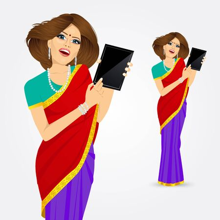 vrouw met tablet: portrait of traditional Indian woman using a tablet computer  isolated over white background