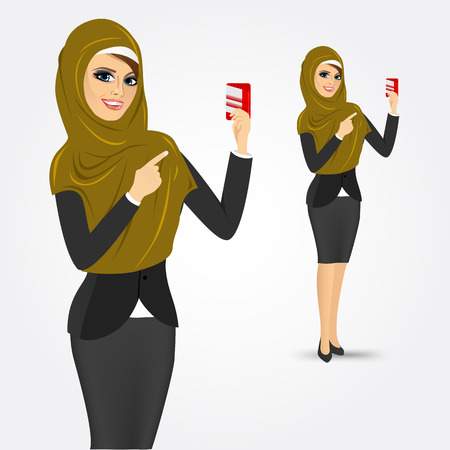 woman credit card: portrait of modern arabic woman pointing at a credit card  isolated over white background