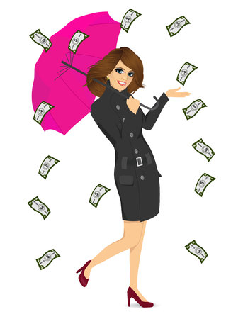 raining: full body portrait of brunette woman holding big purple umbrella happy seeing raining money bills Illustration