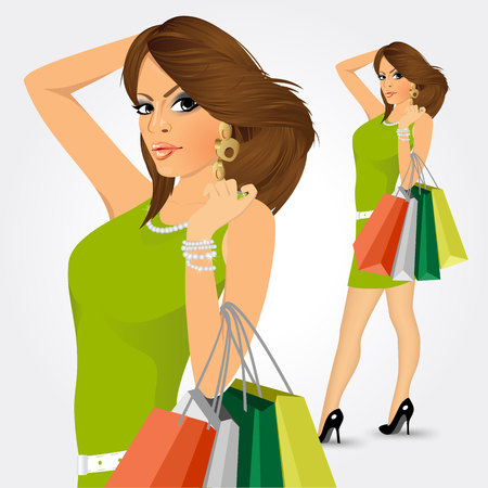 satisfied customer: portrait of young elegant woman with multicolored shopping bags isolated on white background Illustration