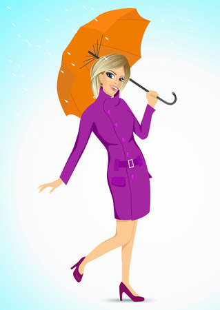 rain coat: full body portrait of friendly blonde woman in a purple autumn coat holding an umbrella and standing under the rain Illustration