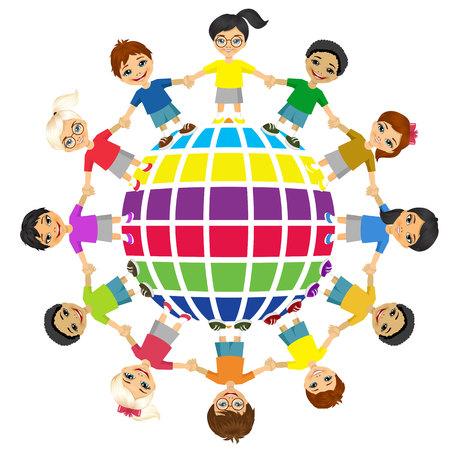Enfants du monde. Journée de l'amitié internationale. Jour de la Terre. Vector illustration d'enfants divers tenant des mains. Banque d'images - 46448345