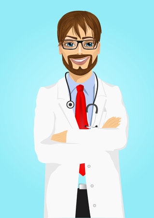 experienced: portrait of experienced male doctor with arms folded posing over blue background