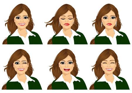 gestos de la cara: conjunto de expresiones avatar femenino aislado en el fondo blanco Vectores