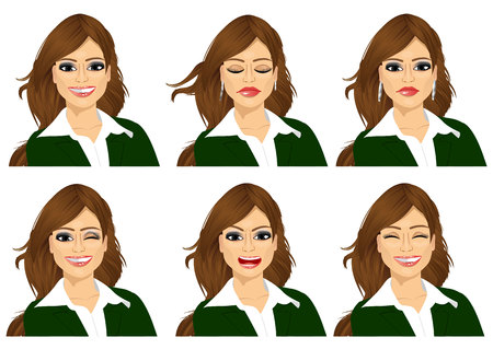 set of female avatar expressions isolated on white background