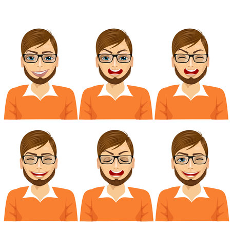 facial expression: set of male avatar expressions isolated on white background