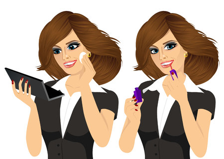 applying: portrait of young woman applying lipstick with an applicator and face foundation