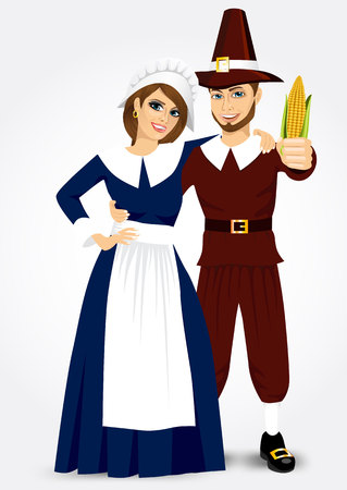 period costume: vector illustration for thanksgiving of pilgrim couple holding a corn isolated on white background Illustration