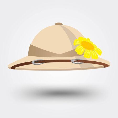 médula: ilustración vectorial de sombrero sombrero de explorador para el safari aislados sobre fondo blanco