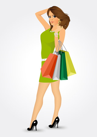 short dress: elegant woman in short dress and high heels holding multicolored shooping bags isolated on white background