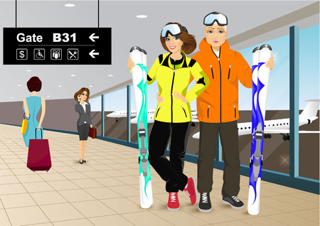 skiers: vector illustration of happy couple skiers standing in the hall of the airport