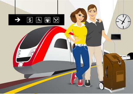high speed train: vector illustration of happy couple standing in an embrace on the platform at the train station against a high speed train
