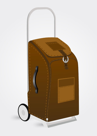 trolley case: vector illustration of brown trolley suitcase isolated on a white background Illustration