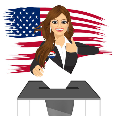 voter registration: portrait of businesswoman putting ballot in vote box and giving thumbs up on white background