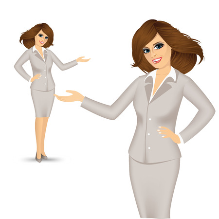 businesswoman showing something or copyspase for product or sign text Illustration