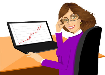 using laptop: Ritratto di giovane donna con laptop Vettoriali