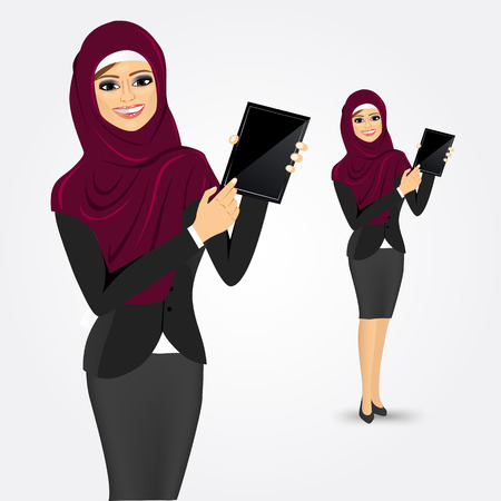 vrouw met tablet: portrait of modern arabic woman using a tablet computer  isolated over white background