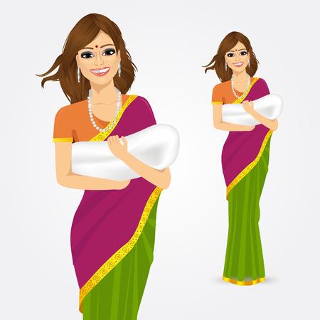 mujer enamorada: Retrato de la mujer india tradicional que sostiene a su bebé aislado sobre fondo blanco