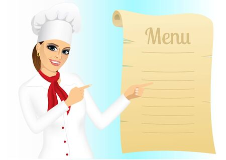 female chef: portrait of happy young female chef pointing at menu