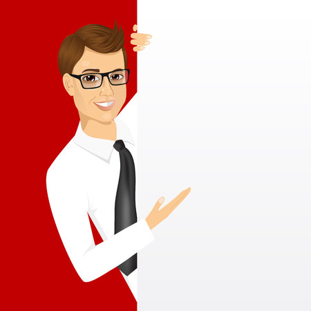 portrait of young man with glasses and a blank presentation board