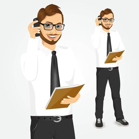 talking phone: portrait of smiling hipster businessman with paper folder talking on the phone isolated over white background