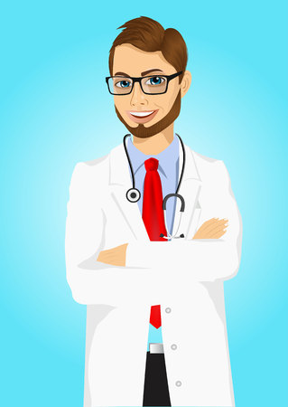 experienced: portrait of experienced male doctor with arms folded poising over blue background