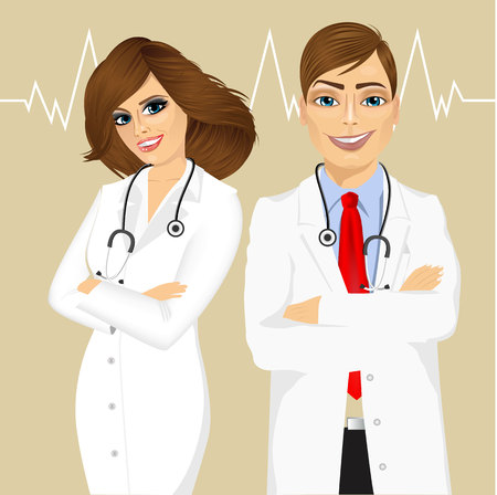 experienced: portrait of experienced male and smiling female doctors with arms folded Illustration