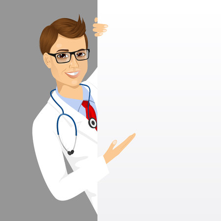 handsome male: portrait of handsome male doctor with glasses peeking out of a blank presentation board and showing something on it