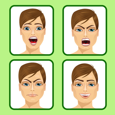 face expressions: mosaic of young man expressing different emotions Illustration