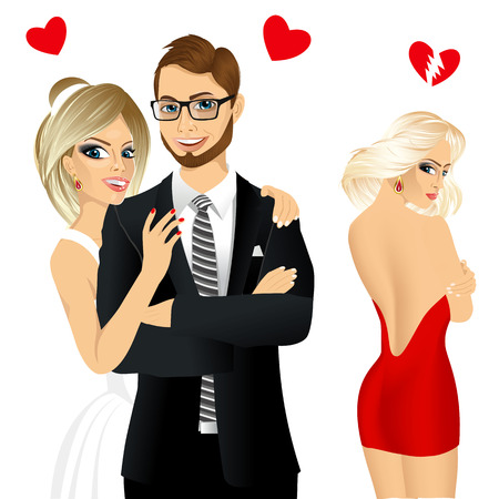 jealousy: vector illustration of the bride and groom at a wedding laughing happy and sad blonde girl jealousy about her friend