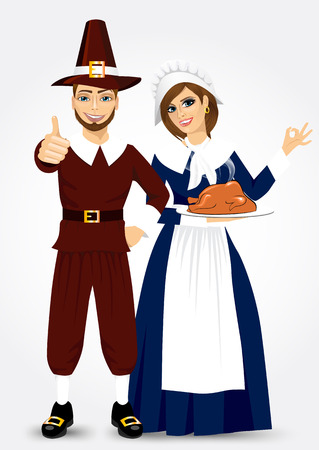 period costume: vector illustration for thanksgiving of pilgrim couple holding holding a roast turkey and giving thumbs up