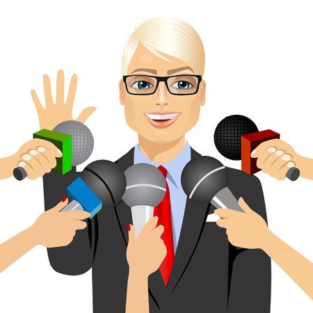 male politician or businessman with glasses answering press questions in front of journalists holding microphones