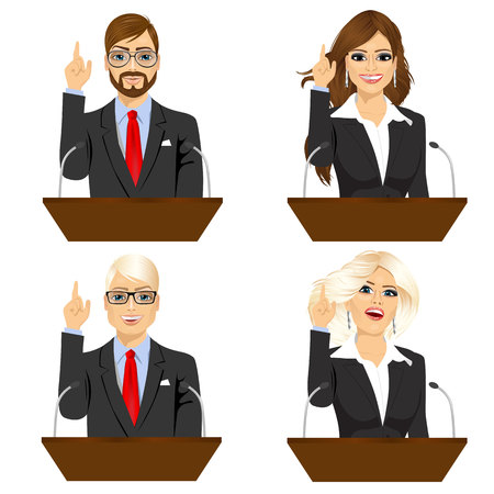 woman speaking: set of four different politicians speaking on microphone isolated over white background