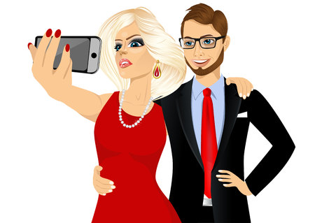 woman smartphone: portrait of happy blonde woman and young hipster man in business suit taking a selfie using her smartphone isolated over white background Illustration