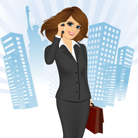 business phone: portrait of businesswoman with briefcase talking on the phone isolated over skyscrapers