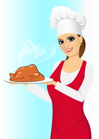 smiling happy cook woman holding a tray with a roasted turkey