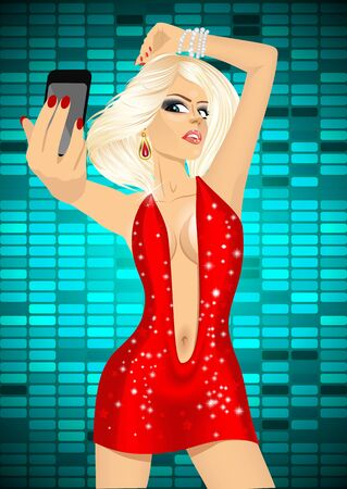woman smartphone: portrait of beautiful blonde woman in red dress taking a selfie using her smartphone over technical equalizer background