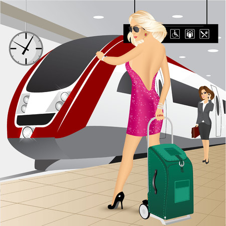 the high speed train: portrait of woman standing with a trolley suitcase checking the time on the platform at the train station against a high speed train Illustration