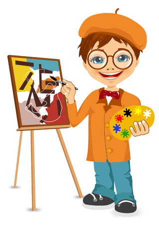 cute little boy: vector illustration of cartoon artist boy standing near the easel holding the palette in his hands