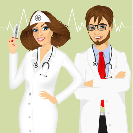 pointing up: portrait of experienced male doctor with arms folded and smiling female doctor pointing up Illustration