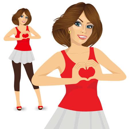 faisant l amour: portrait de belle femme brune faisant signe d'amour avec ses mains sur sa poitrine sur un d�bardeur rouge